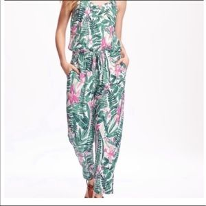 Pink and green print cute and comfy romper